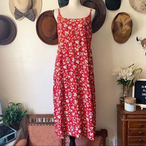 🎈Vintage🎈Red Floral Dress